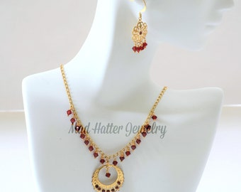 Ruby Crystal and Gold Jewelry Set, Delicate Gold and Ruby Crystals Necklace and Earrings Set