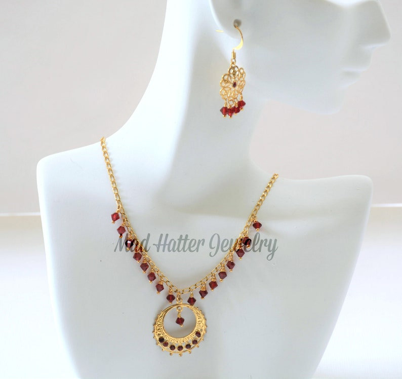 Ruby Crystal and Gold Jewelry Set Delicate Gold and Ruby image 0