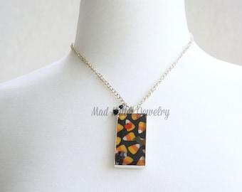 Candy Corn, Bat and Pumpkin Pendant Necklace