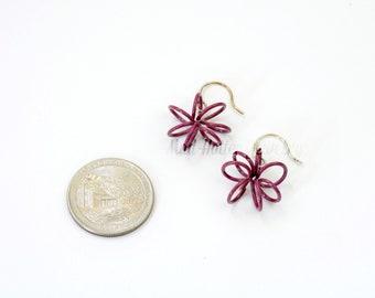 Purple Wire Flower Earrings