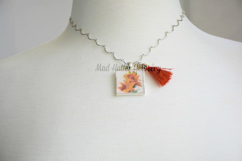 Orange Tiger Lilies Pendant Necklace image 0