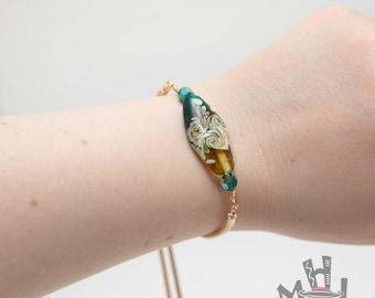 Lampworked Glass Bracelet, Lampworked Glass Adjustable Bracelet, Gold Bracelet with Lampworked Bead, Adjustable Gold Bracelet