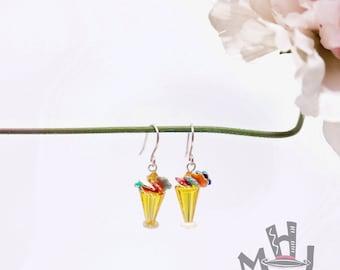 Flower Vase Earrings, Multifloral Vase Earrings, Spring Flowers Earrings, Yellow Vase with Flowers Earrings