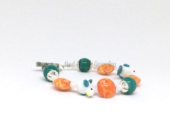 Bird and Bead Bracelet and Earrings, Summer Birds Jewelry Set, Orange, Teal Green and White Beads Bracelet with Birds
