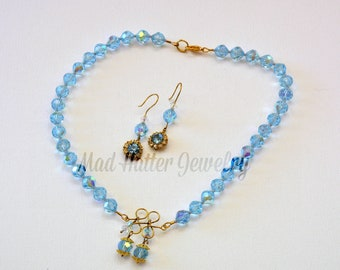 Antique Crystal and Brass Necklace and Earrings
