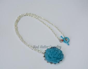 Turquoise Peony Necklace