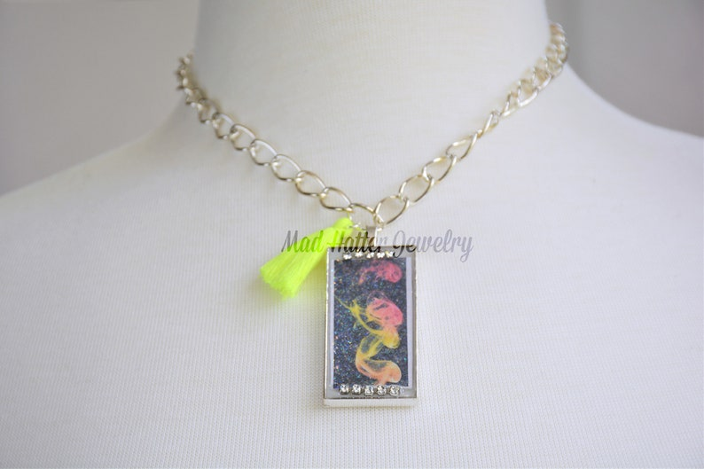 Yellow and Pink Abstract Pendant Necklace image 0