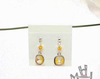 Spring Earrings, Yellow Earrings, Yellow and Silver Earrings, Mother's Day Gift Earrings, Graduation Gift Earrings