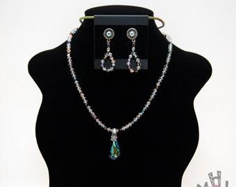 Large Swarovski Crystal Teardrop Necklace and Earrings, Multi-colored Swarovski Crystals Necklace. Earrings Set, Crystal Necklace Set