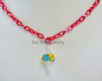 Blue and Yellow Flower Necklace