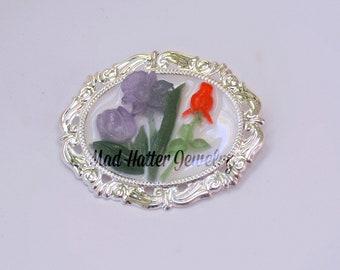 Purple Rose and Red Iris Brooch