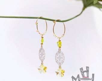 Butterfly Earrings, Flower Earrings, Yellow and White Earrings, Crystal and Filigree, Mother's Day Gift, Yellow Flower and White Filigree