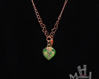 Green Cloisonne' Necklace, Green Cloisonne' and Copper Necklace, Cloisonne' on Copper Chain Necklace