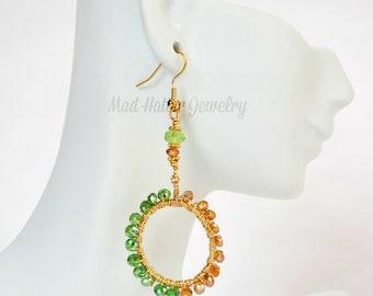 Green and Gold Hoop Earrings
