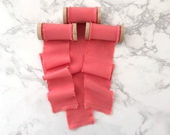 "Pantone Living Coral Matte Satin Ribbon 2"" inch hand frayed silk alternative"