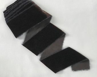 "Chocolate plum 2"" velvet hand dyed ribbon 3 yard length"