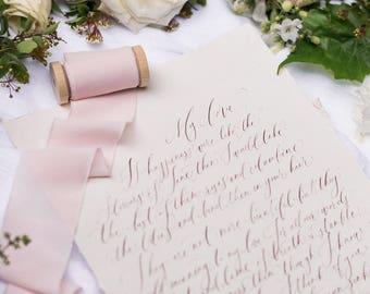 "2"" inch Blush Ribbon on wood spool - Hand Spun Unfinished Raw Edge Ribbon - Bouquet Stationery Invitation Suite blush light pink"