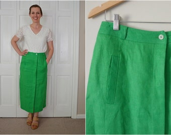 9be74610e7c7 Vintage Kelly Green Linen Midi Skirt / Long Midi Lined Skirt with Front  Pockets / Summer Green Skirt with Slits 30