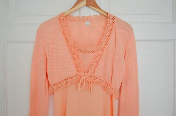 Vintage Empire Elastic Waist Peach Coral Dress Size 8