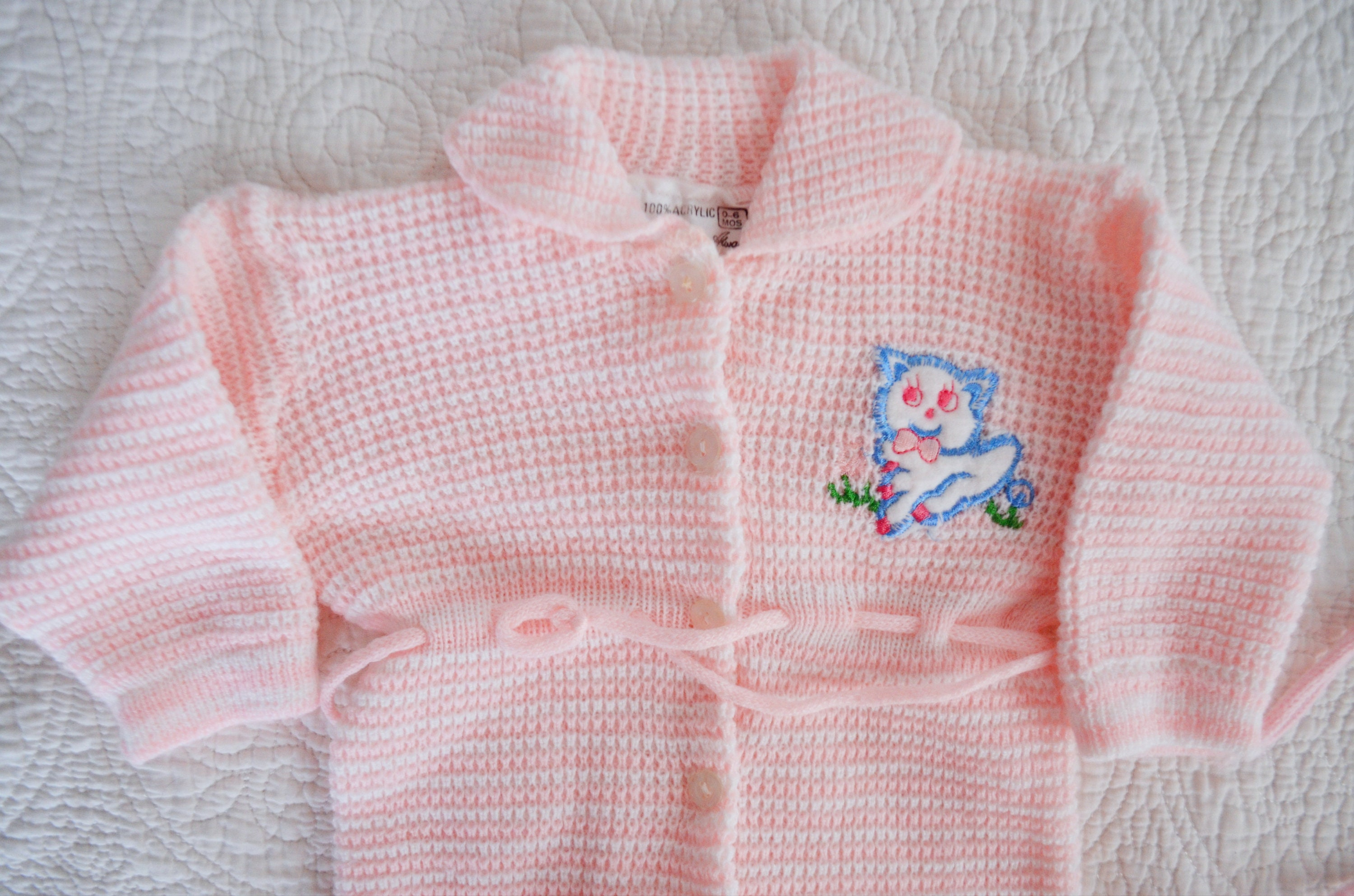 36b818add8d0 Baby Girls  Vintage Light Pink Knit Footie Outfit with