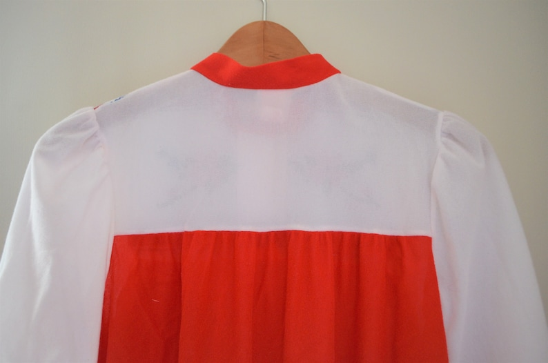 Vintage Women/'s Red /& White Nightgown  JCPenney Sleepwear Long Nightgown  Retro Red and White Pajama Dress with Floral Design