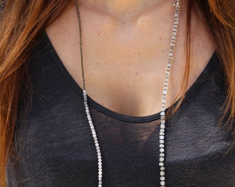 Long boho necklace, double strand necklace, Moonstone necklace, Pearls necklace, beaded necklace, pyrite necklace, mix gemstones necklace