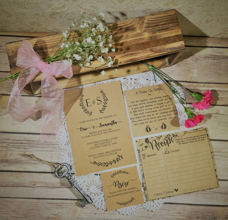 Rustic Wreath Kraft Cardstock Wedding Invitation Set