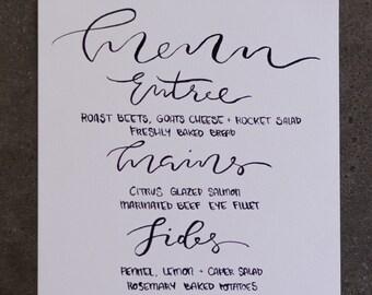 Custom Hand Lettered Menu