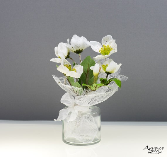 Silk Flower Arrangement White Flowers Real Touch Artificial Etsy