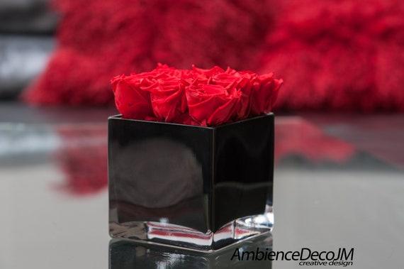 Luxury Red Infinity Rose Arrangement In Cube Vase Luxury Etsy