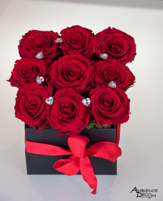 Preserved Real Roses Flower Arrangement Infinity Red Rose Box Etsy