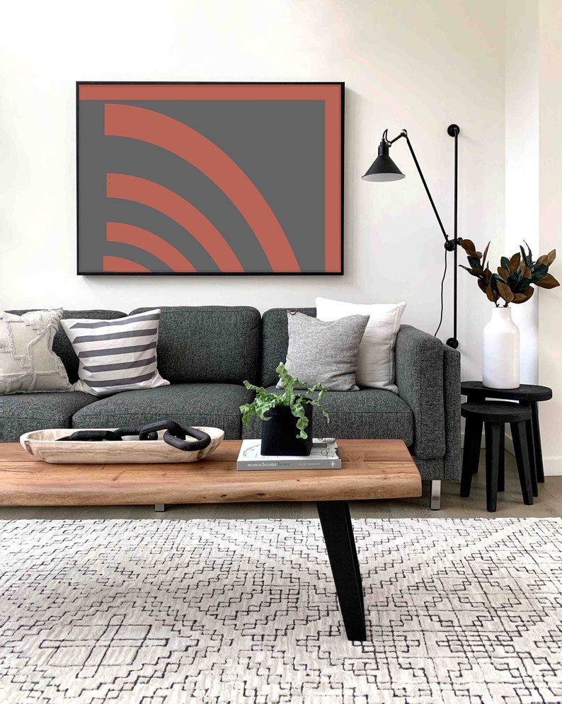 Expressionist Wall Decor Print 36 x 24 Scaleable Files Large Minimalist Abstract Art Print Mid Century Instant Download