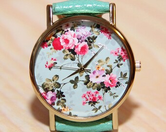 Wrist watch flowers, ladies watch, turquoise watch, leather watch, wedding clock, holiday clock, fashion watch, rose watch, Women's watches