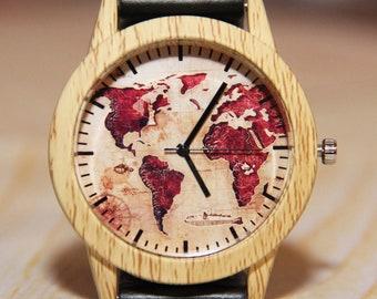 World wrist map watch, wooden wrist watch, imitation wooden watch, men's watch, unique watch, Women's watch, watch hand made, travel watch