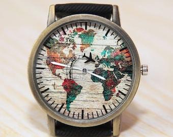 Wristwatch World Map, Mens Watch, Women's Watch, Green World Watch,  Globe Watch, Airplane Watch, Jeans Strap Watch, Traveler Gift