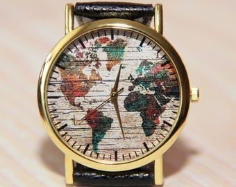 Wristwatch world map, wrist watch globe, watch earth, travel watch, mens watch, female watch, unique watch, watch hand made, Color map