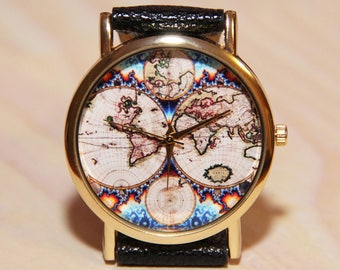 Wristwatch Antique World Map, Mens Watch, women watches, Traveler's watch, Traveler's Gift, world map watch, map watch, globe watch