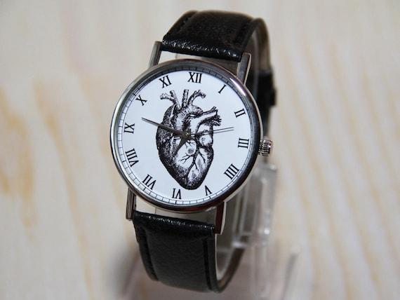 Armbanduhr Ist Ein Herz Armbanduhr Herz Uhr Geschenk Arzt Damen Uhr Graue Uhr Anatomische Herz Herrenuhren