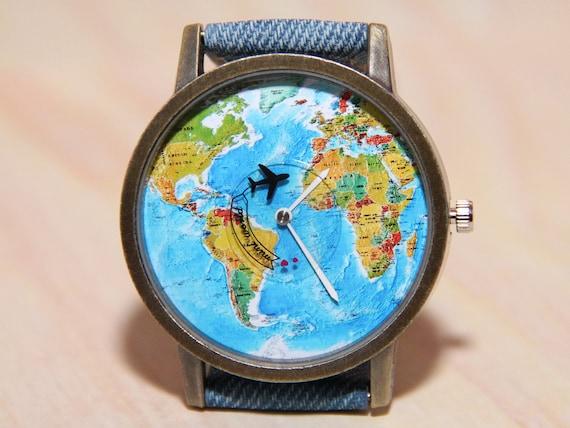 Armbanduhr Weltkarte, Jeans Uhr, Reisen, Handgelenk Uhr Flugzeug, Herrenuhr, Damenuhren, einzigartige Uhren, Uhr, handgefertigte Uhren