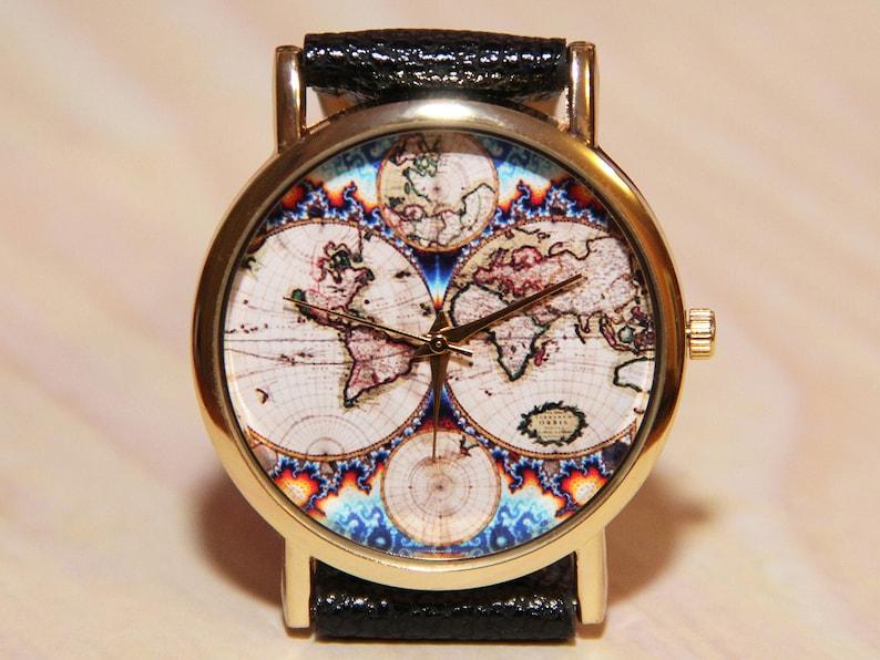 Wristwatch Antique World Map Mens Watch Women Watches Etsy