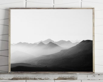 Mountain Print Foggy Mountains Nature Art, Black and White Landscape Mountain Poster Large Wall Art Print Mountain Wall Art Digital Download