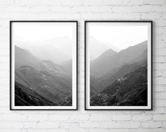 Foggy Mountains Set of 2 Mountain Wall Art Landscape Photography Black and White Nature Art, Large Wall Art Prints Printable Wall Art