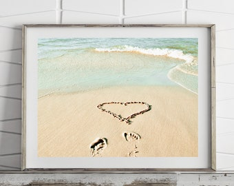 Heart in sand print, beach decor, romantic wall art, ocean print, printable wall art prints, downloadable prints, instant downbload