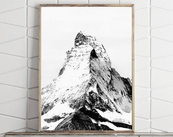 Matterhorn Mountain Print Nature Art, Black and White Mountain Poster Large Wall Art Print Mountain Wall Art Digital Download Printable Art