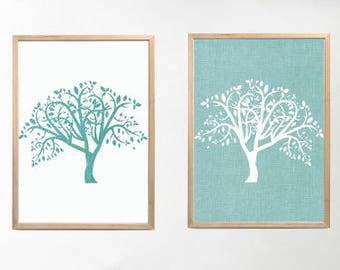 Set of 2 Tree of Life Prints Minimalist Prints, Teal Abstract Art, Abstract Print Download, Large Wall Art Teal Decor