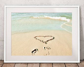 Heart in sand print, beach photography, romantic wall art, ocean art, nautical decor coastal art printable poster instant download