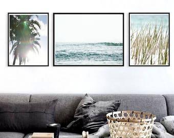 Coastal Wall Art Prints Set of 3 Nautical Decor Beach Decor Ocean Print Palm Tree Print Large Wall Art Tropical Decor Coastal Printable Art
