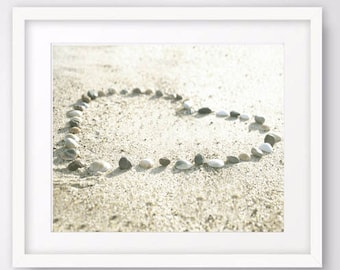 Heart in sand print, beach photography, romantic art, nautical decor, beach photo printable digital download romantic poster