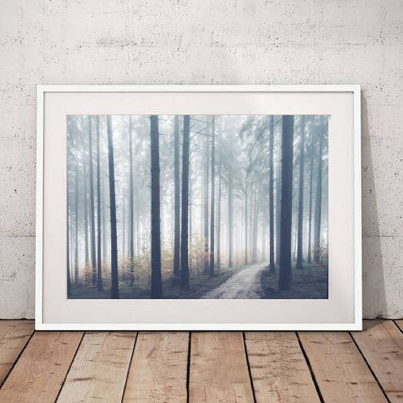 Foggy Forest Print Nature Art Large Wall Art Print Landscape | Etsy
