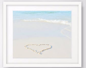 Heart in sand photography, ocean print, beach wall art, romantic art, nautical decor, seascape photo prints